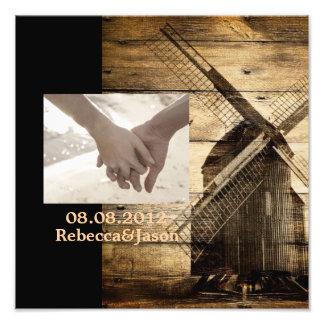 Rustic wood country windmill barn wedding art photo