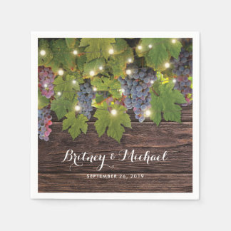 Rustic Wood Country Winery Twinkle Lights Wedding Disposable Napkin
