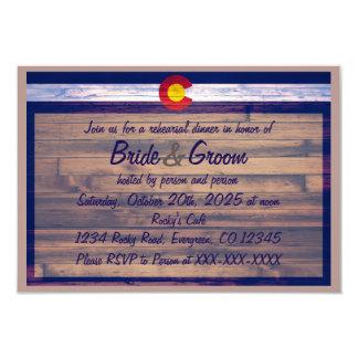 Rustic wood custom Colorado rehearsal dinner cards 9 Cm X 13 Cm Invitation Card