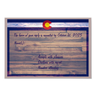 Rustic wood custom Colorado RSVP cards 9 Cm X 13 Cm Invitation Card