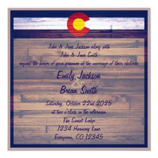 Rustic wood custom Colorado wedding invitations