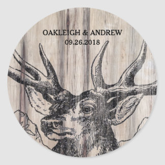 Rustic Wood | Deer Save the Date Stickers