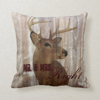 rustic wood deer the hunt is over mr and mrs cushion