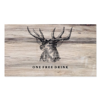 Rustic Wood | Deer Wedding Drink Card Double-Sided Standard Business Cards (Pack Of 100)