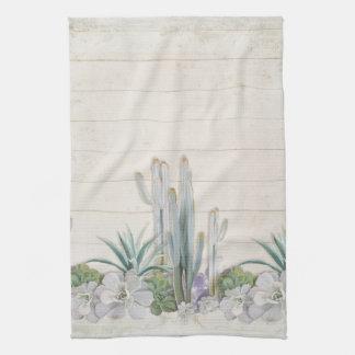 Rustic Wood Desert Cactus Succulent West Kitchen Tea Towel