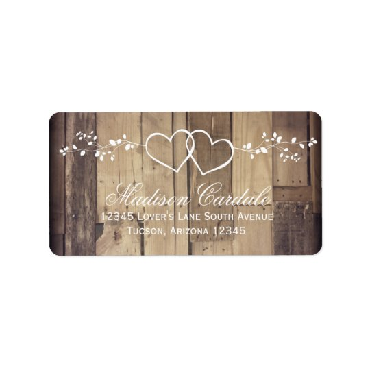 Rustic Wood Double Hearts Wedding Address Labels