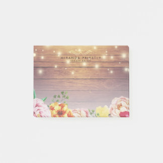 Rustic Wood Elegant Floral Chic String Lights Post-it Notes