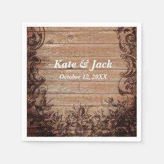 Rustic Wood Elegant Initials Date Wedding Napkins Paper Napkin