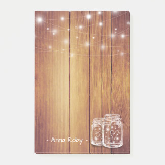 Rustic Wood Elegant Mason Jar Vintage String Light Post-it® Notes