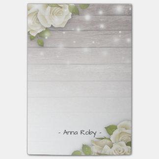 Rustic Wood Elegant White Rose Floral String Light Post-it® Notes