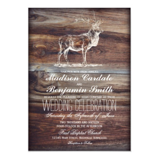 Rustic Wood Elk Wildlife Wedding Invitations