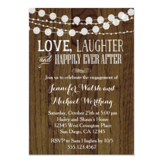 Rustic Wood Engagement Party Invitation 2
