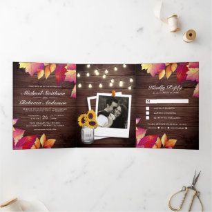 Rustic Wood Fall Autumn Leaves All in One Wedding Tri-Fold Invitation