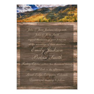 Rustic wood fall trees wedding invitations