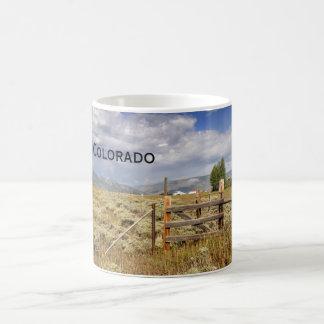 rustic wood fence by a prairie in Colorado Coffee Mug