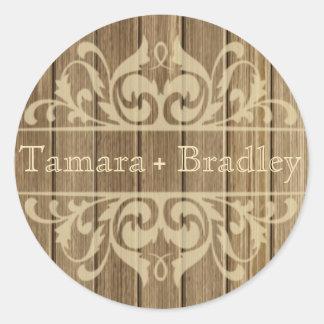 Rustic Wood Filigree Designer | brown tan Round Sticker