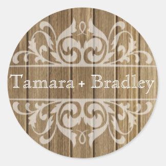 Rustic Wood Filigree Designer | brown white Round Sticker