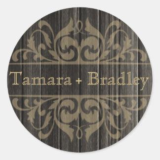 Rustic Wood Filigree Designer | ebony tan Round Sticker