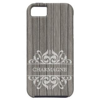 Rustic Wood Filigree Designer | grey white iPhone 5 Case