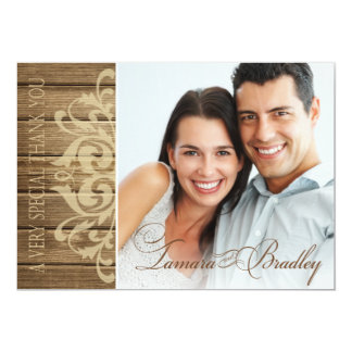 Rustic Wood Filigree Photo Thank You | brown tan 13 Cm X 18 Cm Invitation Card