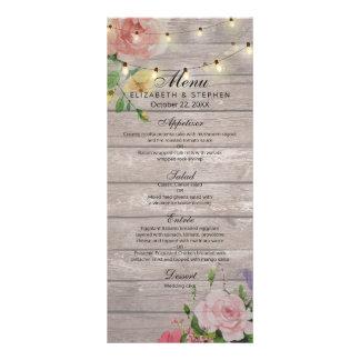 Rustic Wood Floral Chic String Lights Wedding Menu Full Color Rack Card