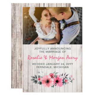 Rustic Wood Floral Country Wedding Announcement