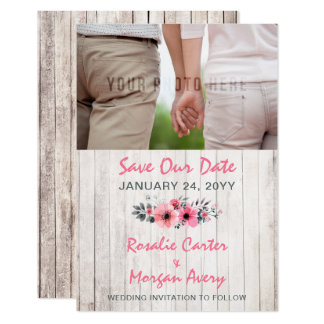 Rustic Wood Floral Country Wedding Save The Date Card