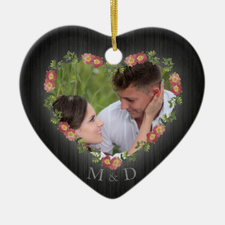 Rustic Wood Floral Heart Photo Christmas Ornament