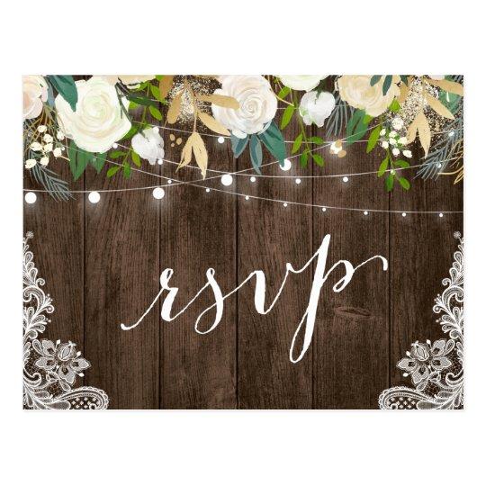 Rustic Wood Floral Lace String Lights Wedding RSVP