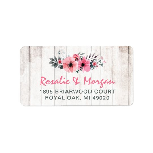 Rustic Wood Floral Rose Country Chic Coral Address Label