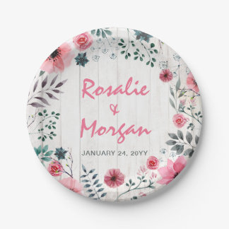 Rustic Wood Floral Rose Country Wedding Reception Paper Plate