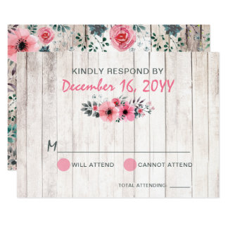 Rustic Wood Floral Rose Country Wedding RSVP Card