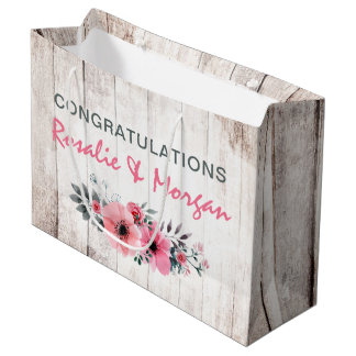 Rustic Wood Floral Roses Country Wedding Congrats Large Gift Bag