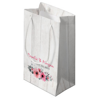 Rustic Wood Floral Roses Country Wedding Favor Bag