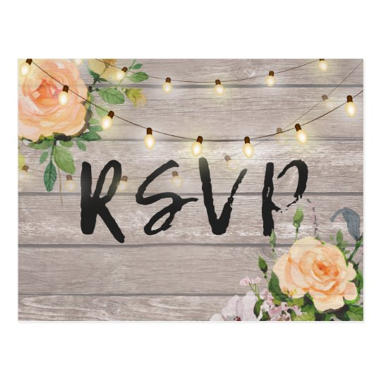 Rustic Wood Floral String Light Wedding RSVP Reply
