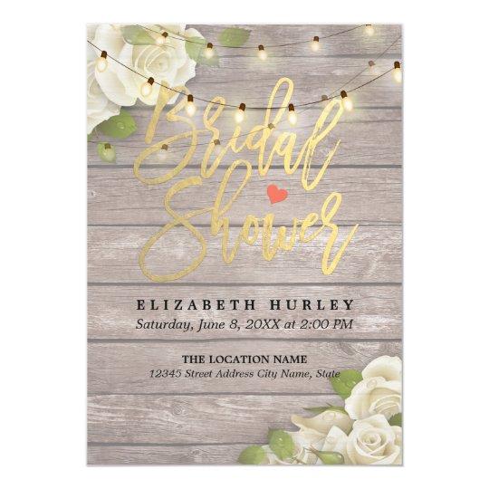 Rustic Wood Floral String Lights Bridal Shower Card