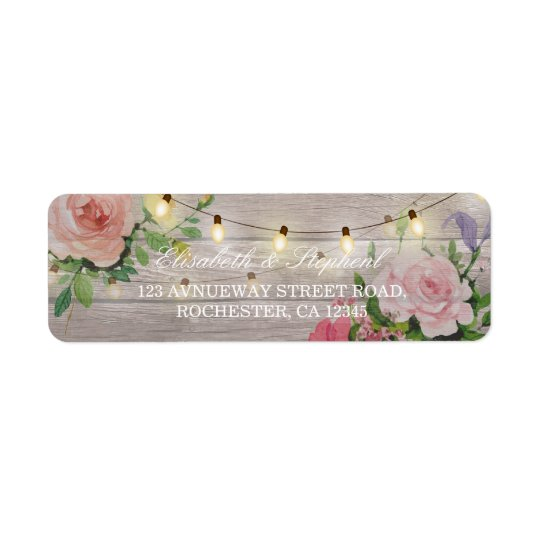 Rustic Wood Floral String Lights Wedding Address