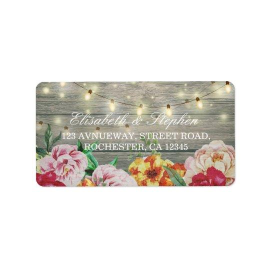 Rustic Wood Floral String Lights Wedding Address Address Label