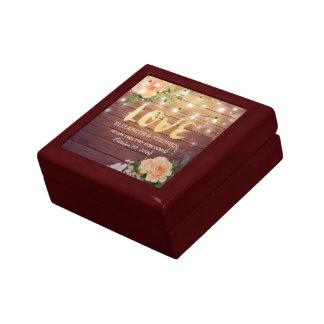 Rustic Wood Floral String Lights Wedding Shower Gift Box