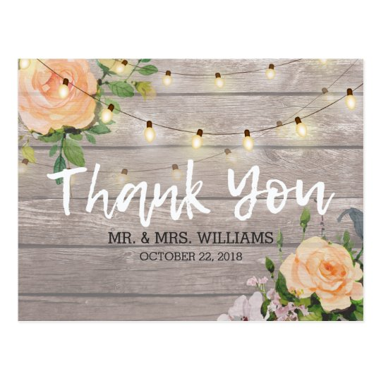 Rustic Wood Floral String Lights Wedding Thank You Postcard