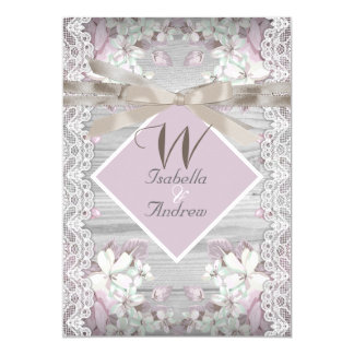Rustic Wood Floral Wedding White Lace Pink 13 Cm X 18 Cm Invitation Card