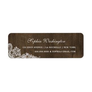 Rustic Wood & Floral White Lace | Elegant Address Return Address Label