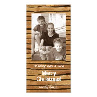 Rustic Wood Frame Photo Christmas Card