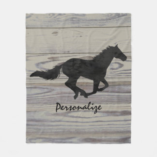 Rustic Wood Galloping Horse Watercolor Silhouette Fleece Blanket