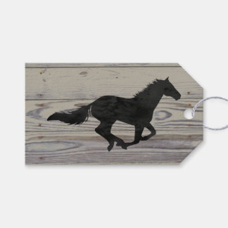 Rustic Wood Galloping Horse Watercolor Silhouette Gift Tags