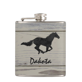 Rustic Wood Galloping Horse Watercolor Silhouette Hip Flask