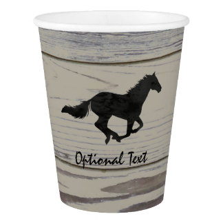Rustic Wood Galloping Horse Watercolor Silhouette Paper Cup