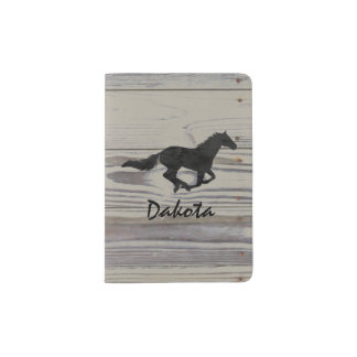 Rustic Wood Galloping Horse Watercolor Silhouette Passport Holder