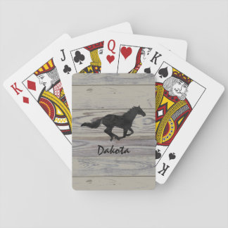 Rustic Wood Galloping Horse Watercolor Silhouette Playing Cards
