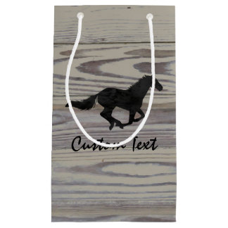 Rustic Wood Galloping Horse Watercolor Silhouette Small Gift Bag